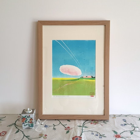 (CreativeWork) Blue Sky and Endless Fields by MARION NELSON. Other Media. Shop online at Bluethumb.