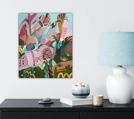 (CreativeWork) Abstract Landscape  - Tropicana # 4 by Susan Trudinger. Acrylic Paint. Shop online at Bluethumb.