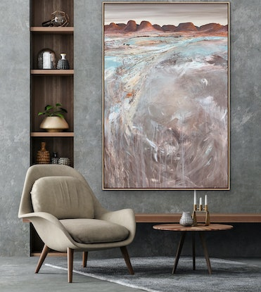 (CreativeWork) East - Textured 153  x 102 cm Extra Large Abstract Landscape by Tania Chanter. Acrylic Paint. Shop online at Bluethumb.