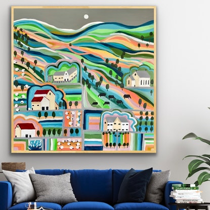 (CreativeWork) Olive grove sheep and dairy farm 102x102 framed large landscape by Sophie Lawrence. Acrylic Paint. Shop online at Bluethumb.