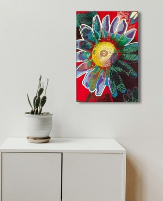 (CreativeWork) FLOWER -Daisy, Daisy, I am half crazy over the love of you....  by Astrid Dahl. Acrylic. Shop online at Bluethumb.