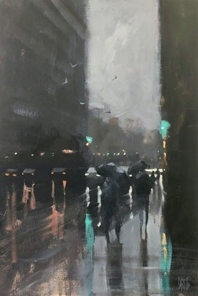 (CreativeWork) Afternoon Rain - class demonstration piece by Mike Barr. Acrylic Paint. Shop online at Bluethumb.