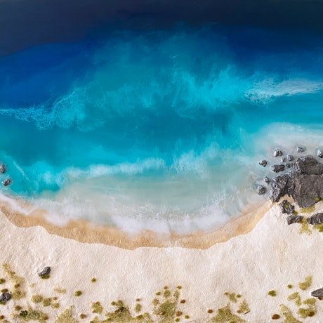 (CreativeWork) Paradise Beach by Michael Kent. Resin. Shop online at Bluethumb.