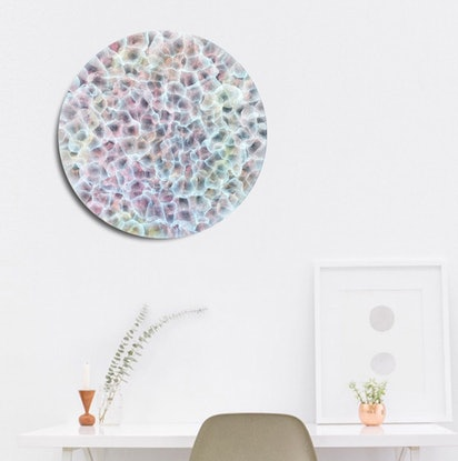 (CreativeWork) Bio- Sphere Barnacle Bloom V - Abstract Round Painting by Jacquelyn Stephens. Acrylic Paint. Shop online at Bluethumb.
