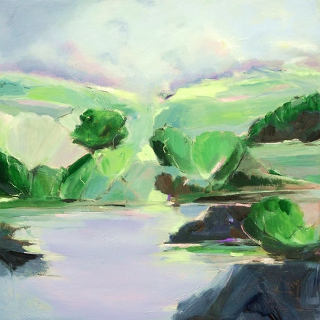 (CreativeWork) River Magic - Landscape Painting  by Brenda Meynell. Acrylic Paint. Shop online at Bluethumb.