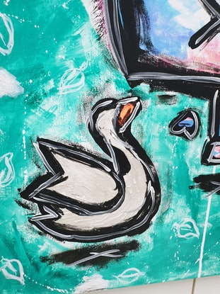 (CreativeWork) Stop Looking At Me Swan by Jimmy Bamble. Mixed Media. Shop online at Bluethumb.