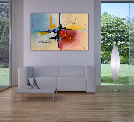 (CreativeWork) Abstract City by Tom Roso. Acrylic Paint. Shop online at Bluethumb.