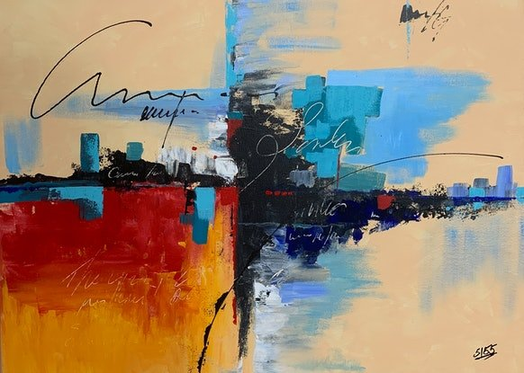 (CreativeWork) Abstract City1 by Tom Roso. Acrylic Paint. Shop online at Bluethumb.