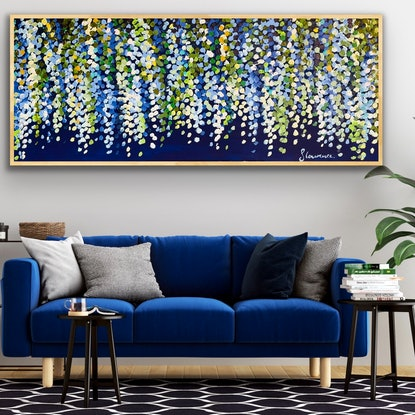 (CreativeWork) Baby blue wisteria  153x62 framed large textured absyract by Sophie Lawrence. Acrylic Paint. Shop online at Bluethumb.