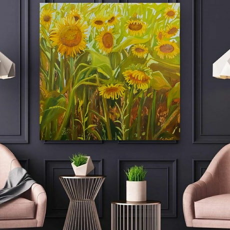(CreativeWork) Sunflowers,  framed by Cristian Frost. Oil Paint. Shop online at Bluethumb.