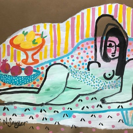 (CreativeWork) Reclining Nude with Still Life by Nadine Sawyer. Acrylic Paint. Shop online at Bluethumb.