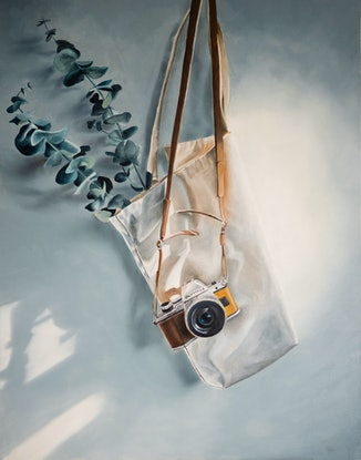 (CreativeWork) Tote Life by Sarah Park. Oil Paint. Shop online at Bluethumb.