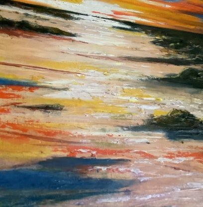 (CreativeWork) Western Sunset - Cable Beach by Leoni Hines. Oil Paint. Shop online at Bluethumb.