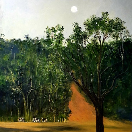 (CreativeWork) Moonrise Over Tallwood by Jeanette Giroud. Oil Paint. Shop online at Bluethumb.