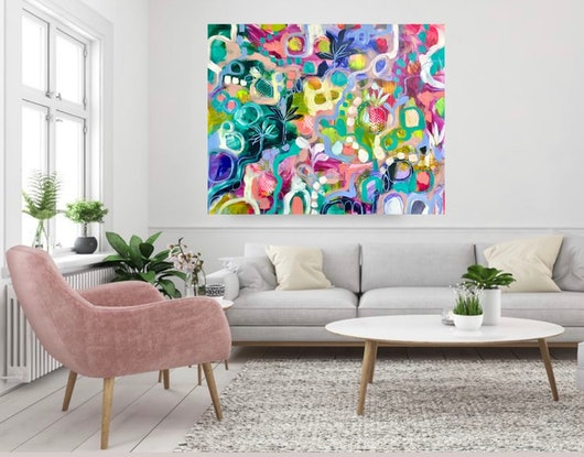 (CreativeWork) Party all summer  by Amanda Brooks. Acrylic Paint. Shop online at Bluethumb.