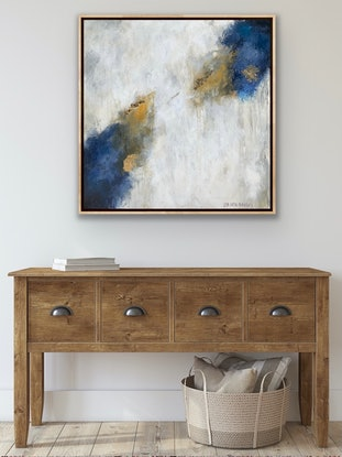 (CreativeWork) Toffee & Wild blueberry Gelato, oak framed   by Lisa Wisse-Robinson. Mixed Media. Shop online at Bluethumb.