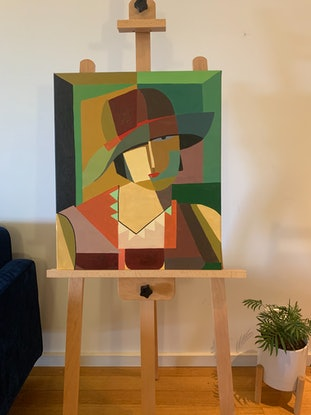 (CreativeWork) Testa di Donna inspired painting by Ginsten .. Oil Paint. Shop online at Bluethumb.