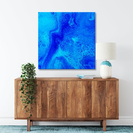 (CreativeWork) Blue Abstract - Oceans Melodious Light by Michelle Tracey. Acrylic Paint. Shop online at Bluethumb.