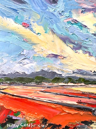 (CreativeWork) Sumer on the Farm 16 - Plein Air by Hilly Coufreur. Oil Paint. Shop online at Bluethumb.