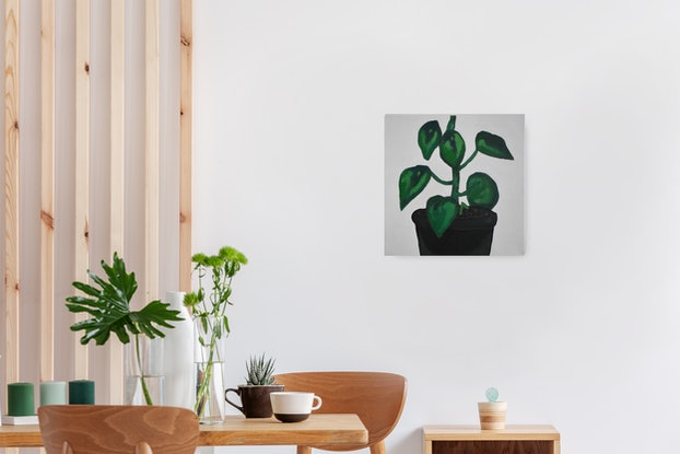 (CreativeWork) Peperomia Polybotrya by Brianna Gittos. Acrylic Paint. Shop online at Bluethumb.