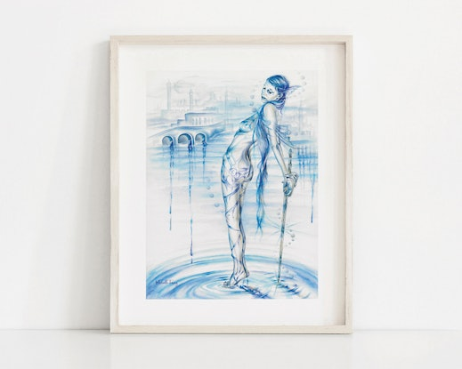(CreativeWork) Lady Of The Lake by Michelle Tracey. Watercolour. Shop online at Bluethumb.