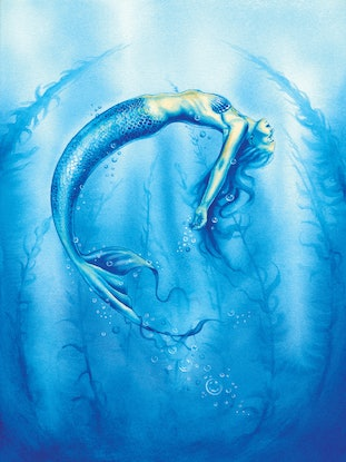(CreativeWork) Mermaid - Surrender by Michelle Tracey. Watercolour Paint. Shop online at Bluethumb.