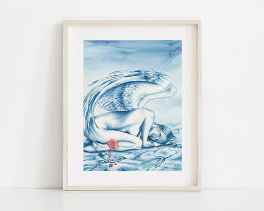 (CreativeWork) Angel - Hope by Michelle Tracey. Watercolour Paint. Shop online at Bluethumb.