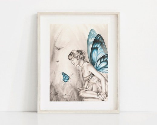 (CreativeWork) Butterfly Fairy - Whispering Wings by Michelle Tracey. Watercolour Paint. Shop online at Bluethumb.