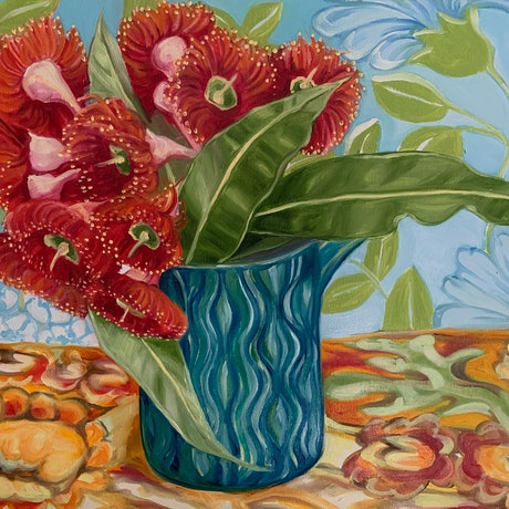 (CreativeWork) Mid Century and the Gum Blossom by Alicia Cornwell. Oil Paint. Shop online at Bluethumb.