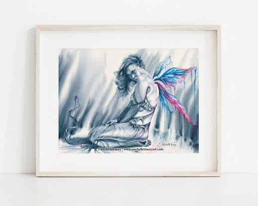 (CreativeWork) Fairy - Light In The Darkness by Michelle Tracey. Watercolour Paint. Shop online at Bluethumb.