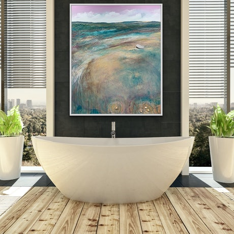 (CreativeWork) Sunnymede Morning Large Textured Abstract Landscape by Tania Chanter. Mixed Media. Shop online at Bluethumb.