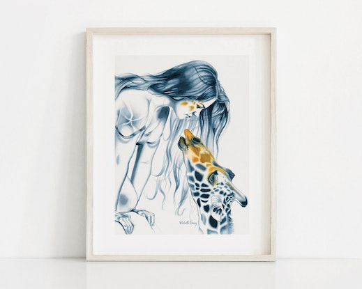 (CreativeWork) Giraffe Totem by Michelle Tracey. Watercolour Paint. Shop online at Bluethumb.
