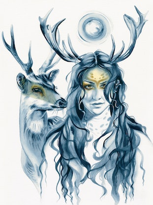 (CreativeWork) Deer Totem by Michelle Tracey. Watercolour Paint. Shop online at Bluethumb.
