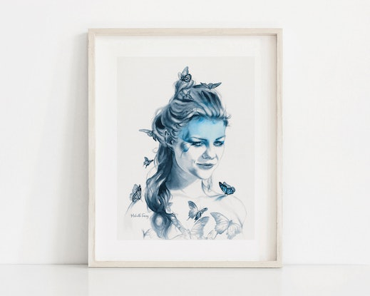 (CreativeWork) Butterfly Totem by Michelle Tracey. Watercolour Paint. Shop online at Bluethumb.