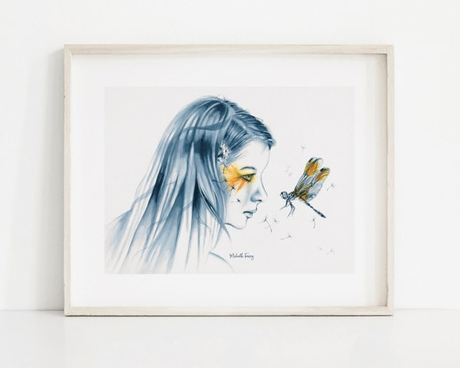 (CreativeWork) Dragonfly Totem by Michelle Tracey. Watercolour Paint. Shop online at Bluethumb.
