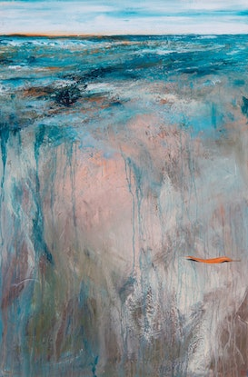 (CreativeWork) Tangerine Dreams 102x153cm Large Textured Abstract Landscape by Tania Chanter. Acrylic Paint. Shop online at Bluethumb.