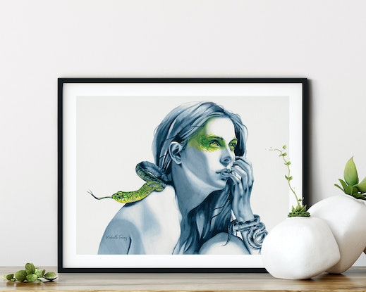 (CreativeWork) Snake Totem by Michelle Tracey. Watercolour Paint. Shop online at Bluethumb.