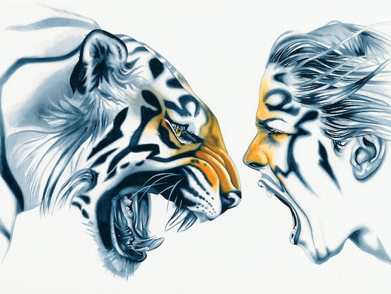 (CreativeWork) Tiger Totem by Michelle Tracey. Watercolour Paint. Shop online at Bluethumb.