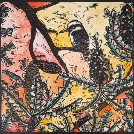 (CreativeWork) The Lookout (linocut variable edition)  4/5 Ed. 1 of 1 by Nicola Cowie. Print. Shop online at Bluethumb.
