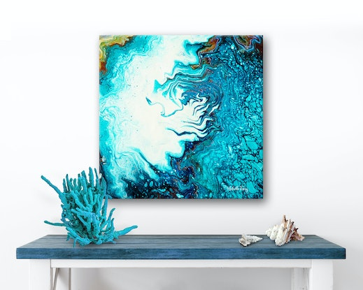 (CreativeWork) Coastal Abstract - Life Beneath The Surface by Michelle Tracey. Acrylic Paint. Shop online at Bluethumb.