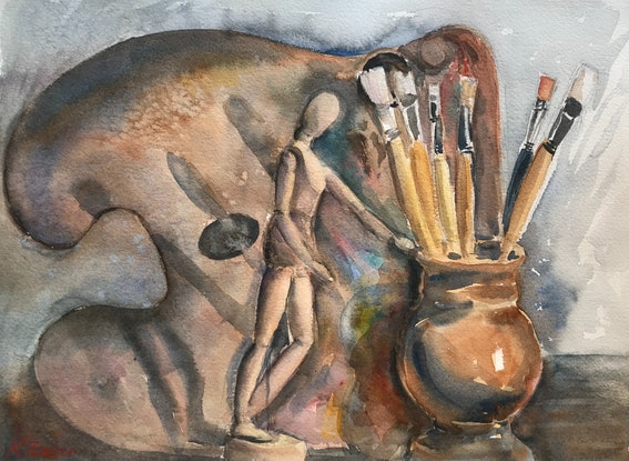 (CreativeWork) Painter's tools by Karin Zeller. Watercolour Paint. Shop online at Bluethumb.
