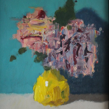 (CreativeWork) Flowers in Yellow Vase by Steven Szczebiot. Oil Paint. Shop online at Bluethumb.