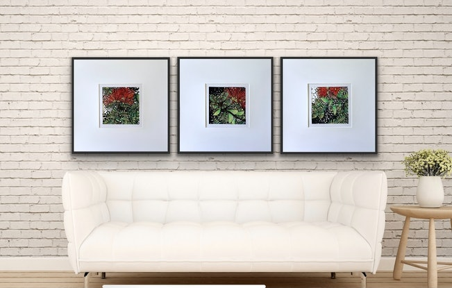 (CreativeWork) Dancing Red Natives Set of 1, 2, 3. by Tania Daymond. Drawings. Shop online at Bluethumb.