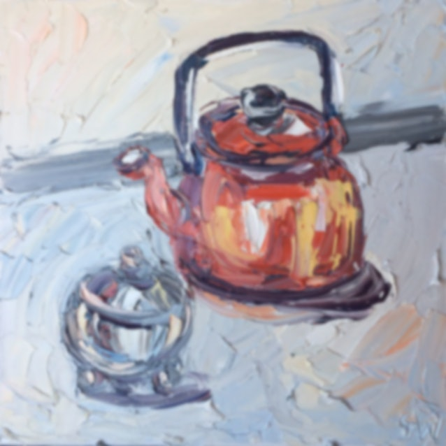 "(CreativeWork) ""Nanna's Teapot"" by Sally West. Oil Paint. Shop online at Bluethumb."