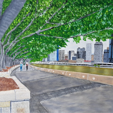 (CreativeWork) Southbank View by Mark O'Hara. Oil Paint. Shop online at Bluethumb.