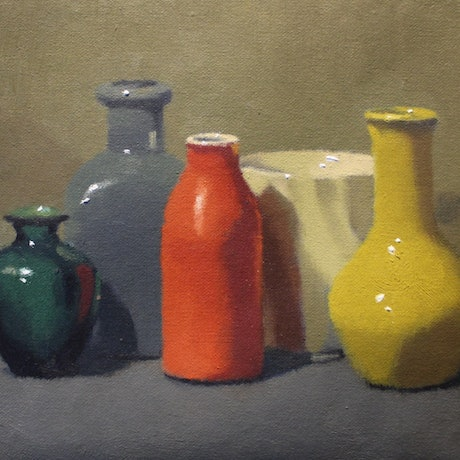 (CreativeWork) Red and Yellow Still Life by Steven Szczebiot. Oil Paint. Shop online at Bluethumb.