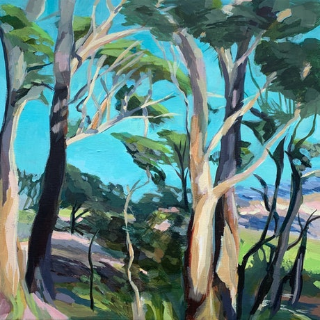 (CreativeWork) Look at the sea - Mt Tomaree  by TeMoana .. Acrylic Paint. Shop online at Bluethumb.