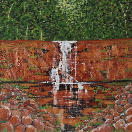 (CreativeWork) A Silvery Cascade   by Corinne Young. Oil Paint. Shop online at Bluethumb.