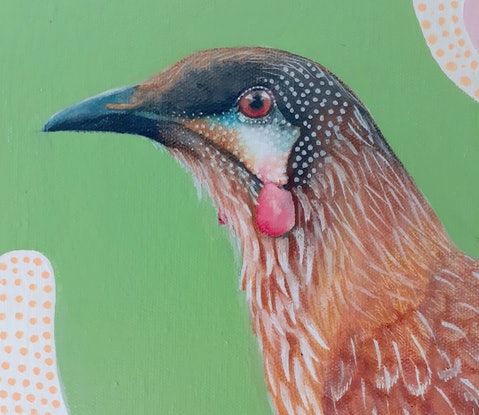 Realistic  red wattlebird rests on a aged fence post against an abstract botanical background coloured pink and green.
