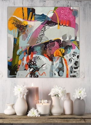 (CreativeWork) Abstract Landscape  - Pink Mountain by Susan Trudinger. Acrylic Paint. Shop online at Bluethumb.